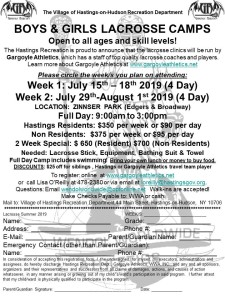 2019 Boys & Girls Summer Lacrosse Camp (Hastings)
